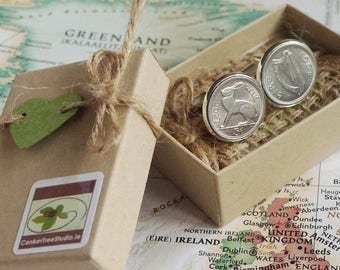 1965 Irish Threepence 3d Leath Reul Coin Cufflinks. 56th Birthday Anniversary Keepsake. Lucky Charms from Ireland