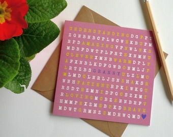 GRANNY - Word Search Greeting Card for Grandmother - Mothers Day - Birthday