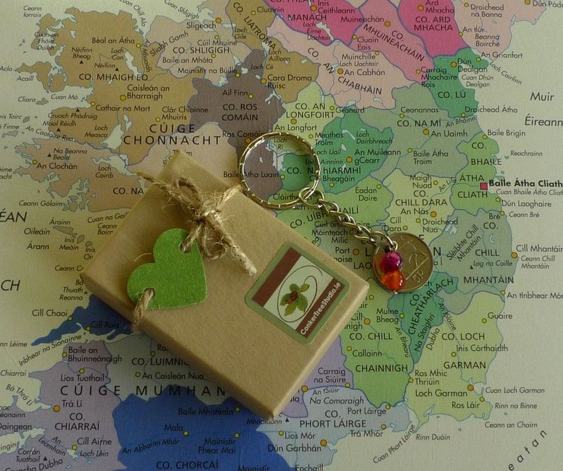 2000 Irish 5p Coin Keyring 21st Birthday or Anniversary Keepsake Vintage Keychain Lucky Charm Keyring from Ireland