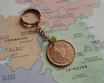 1949 Irish Penny Coin Keyring 72nd Birthday or Anniversary Keepsake Vintage Keychain Lucky Charm Keyring from Ireland