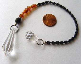 Dowsing pendulum, crystal pendulum, amber pendulum, Swarovski crystal point pendulum with amber chips, pendulum necklace