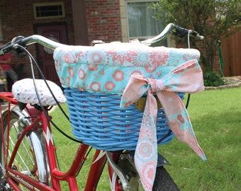Coral and Aqua Floral, Peach Basket Liner For Wicker D Shaped Baskets  Nantucket, Electra or Bell Bike Basket