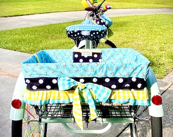 Trike Baskets Send Your Own Fabric to Design a Custom Bike Basket Liner! Made To Order For XL Baskets and  Trike Baskets