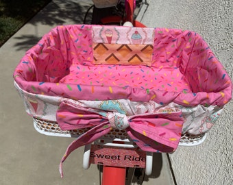 Send Your Own Fabric to Design a Custom Bike Basket Liner! Made To Order For Large Front or Rear Baskets