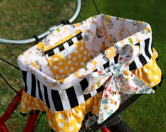 Yellow Bee Beehive l Bike Basket Liner For Elecctra, Sunlite, Ohuhu Type A and B