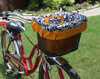 Black and White Damask, and Yellow Gold Bike Basket Liner for Mesh Bike baskets Electra, Bell,