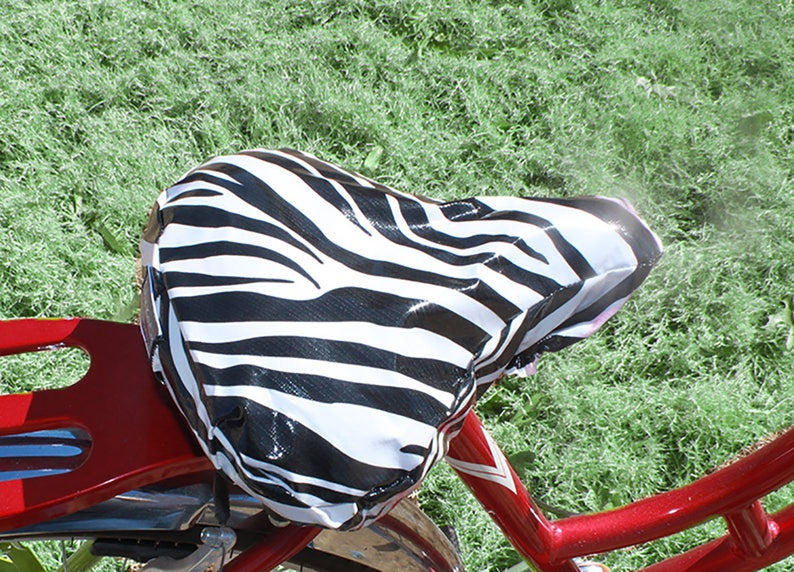 Waterproof oilcloth-Black and White Zebra Stripe  for Cruiser Bikes Bicycle Seat Cover Saddle Cover