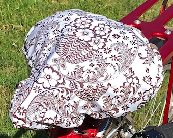 Brown Lace Waterproof Tan Bicycle Seat Cover- Saddle Cover-oilcloth-Brown damask