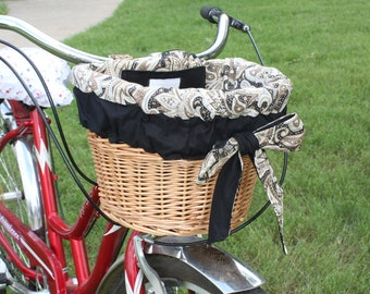 Brown Cream and Black Paisley Bicycle Basket Liner For Wicker D Shaped Baskets  Nantucket, Electra or Bell Bike Basket