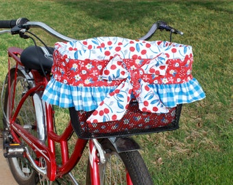 Cherry Gingham and Floral Bike Basket Liner For Elecctra, Sunlite, Ohuhu Type A and B