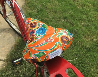 Cruiser Bike Seat Cover in Orange Bloom Bicycle Seat Cover- Saddle Cover- Waterproof oilcloth