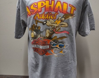 86a056d75 Asphalt Addict Harley Davidson Looney Tunes Taz Coyote T shirt made in USA  Barnett HD El Paso TX Shop Adult Size Large