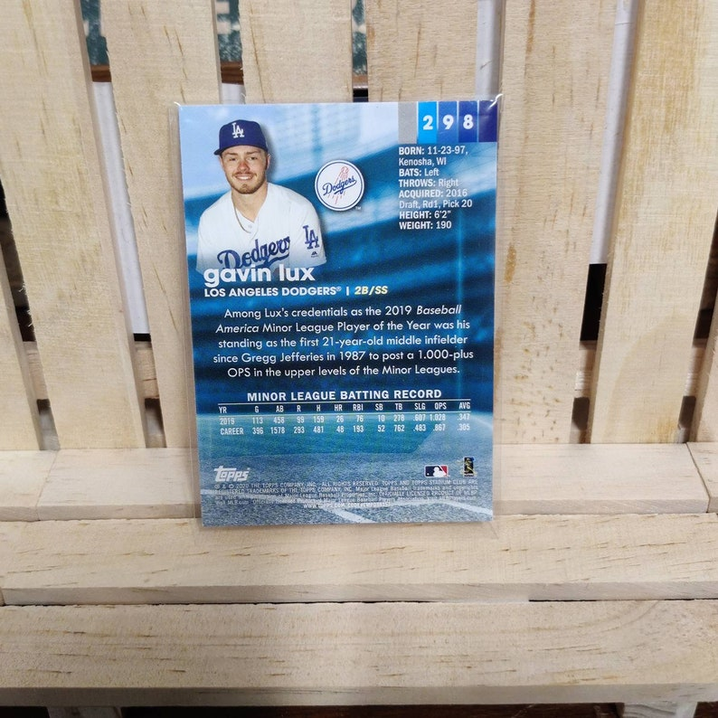 Gavin Lux RC 2020 Topps Stadium Club  number 298 Base set Baseball Card Los Angeles Dodgers Star Player