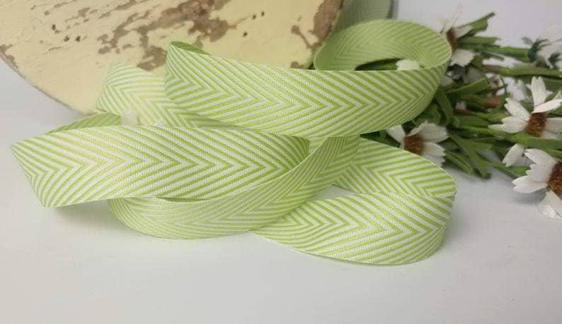 Chevron Twill Herringbone Ribbon Green  and Cream Ribbon Sold By The Yard 34 Inch Width