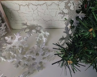 Large Silver Snowflake Ribbon   By The Yard