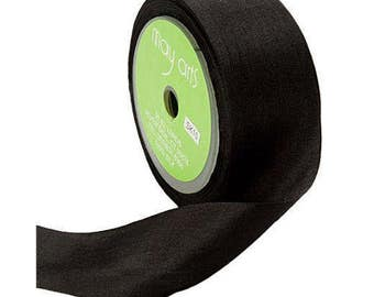 Black Silk Ribbon, 1.25 Inch Silk Ribbon, Black Ribbon. Gift Wrap, Packaging, Wedding Favors, By The Yard