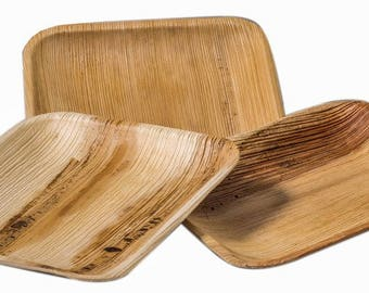 """Dinner Plates.  Palm leaf,  Disposable 10"""",  Palm Leaf Plates. Package of  10. Square Party Plates."""