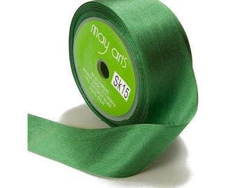 Green Silk Ribbon, 1.25 Inch Silk Ribbon, Green Ribbon. Gift Wrap, Packaging, Wedding Favors,
