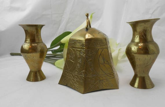 Vintage Brass Decor Large Brass Bell Two Brass Vases Hand Made Etsy