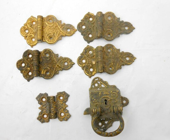 image 0 - Antique Door Hinges Ornate Brass Door Hinges Antique Brass Etsy