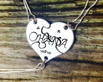 Ohana Necklace, Hawaiian Jewelry, Mom Necklace, Mother Daughter Jewelry, Hawaiian Gifts, Sisters Necklace, Best Friends Necklace