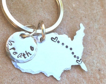 United States Keychain, Long Distance  Keychain, Boyfriend Gift, Couples Keychain, Husband Gift, Personalized Keychain