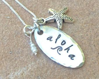 Aloha Necklace, Wave Necklace, Hawaii Necklace, Hawaiian necklace, aloha necklace, gifts for her, Hawaiian, personalized gifts, natashaaloha