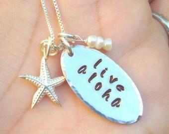 Aloha Necklace, live aloha, Ohana, Hawaiian necklace, Hawaiian Jewelry, Beach Jewelry, Hula, natashaaloha