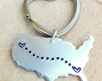 United States Keychain, Long Distance  Keychain, Couples Keychain, Best Friends Keychain, Personalized Keychain, Boyfriend Gift