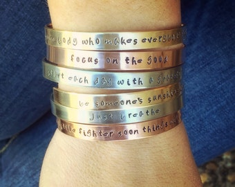 Personalized Cuffs, Positve Word Jewelry, Inspirational Jewelry,Natashaaloha,  Inspirational Bracelet, Positive Bracelet,Personalized