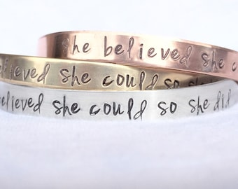 Gifts For Her, She Believed She Could So She Did Bracelet, Graduation 2020, Graduation Gifts, Personalized Cuff, natashaaloha