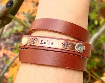Personalized Leather Bracelet, Hawaiian Jewelry, Live Aloha Jewelry, Leather Bracelet, Bracelet, natashaaloha