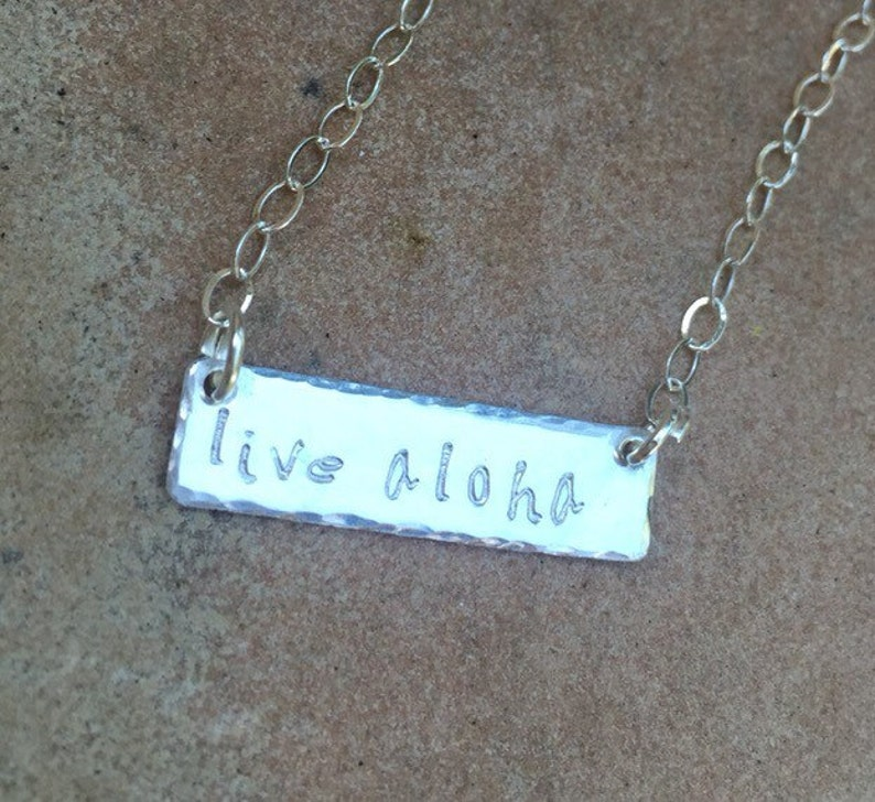 Sterling Bar Necklace Live Aloha Necklace Name Necklace Christmas Gifts For Her Monogram Necklace
