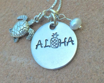 Aloha Pineapple Necklace, Hawaiian Jewelry, Hawaiian Necklace, Aloha Necklace, natashaaloha