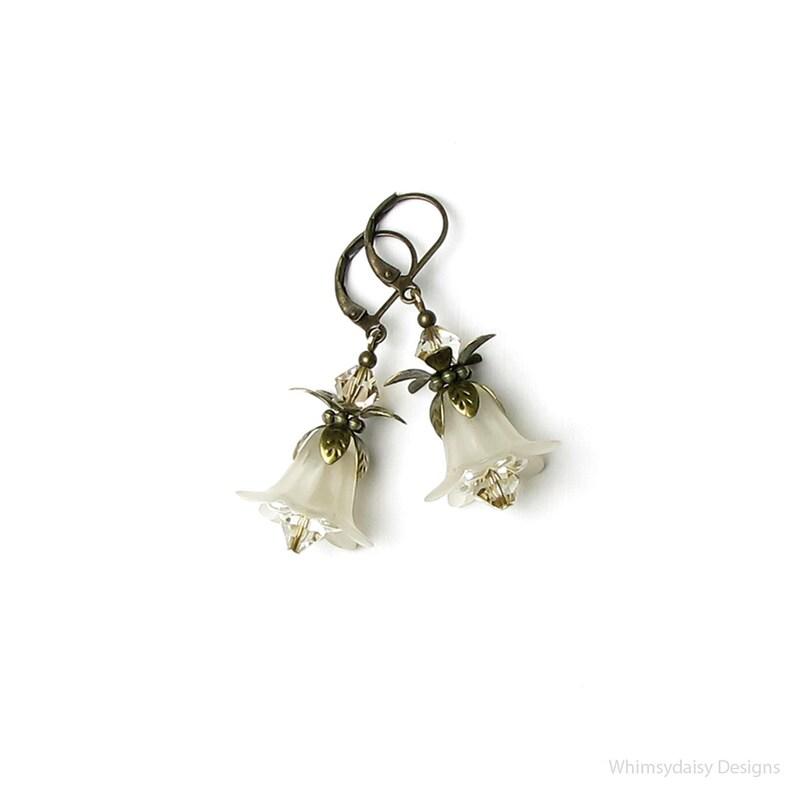 ba70d3778 Ivory Flower Swarovski Crystal Antique Brass Earrings Off | Etsy