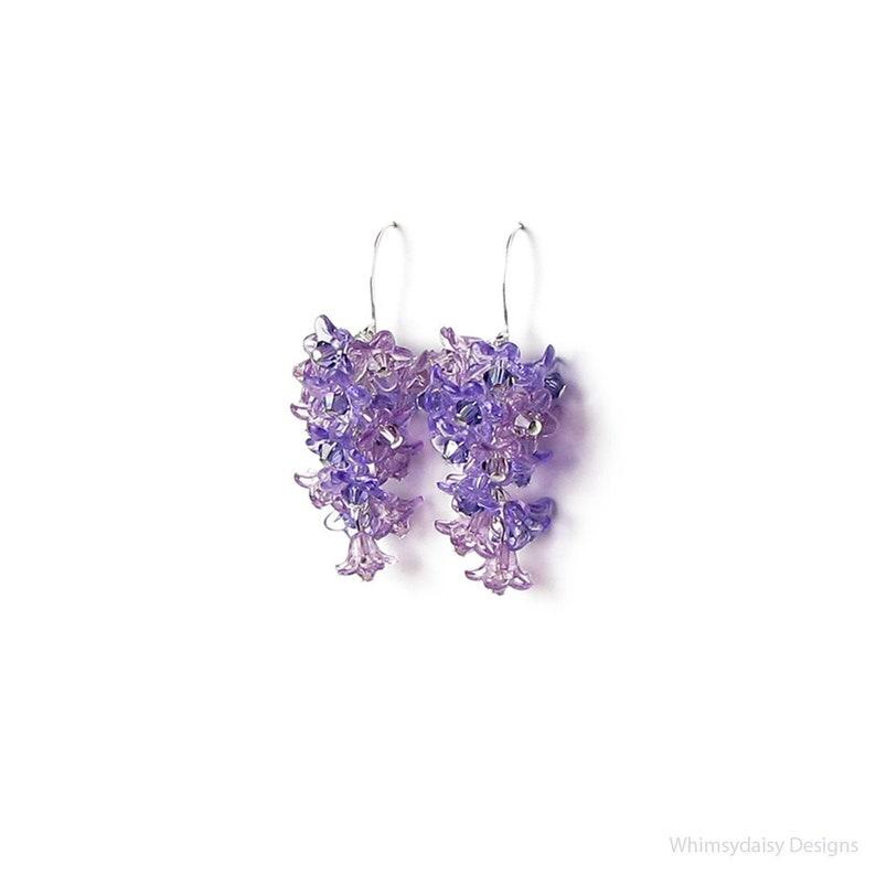 Purple Spring Lilac Flower Crystal Cluster Silver Earrings image 1