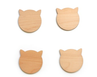 Wood Cat Coasters - Birch Wood Coasters for Drinks - Great Cat Lover Gift