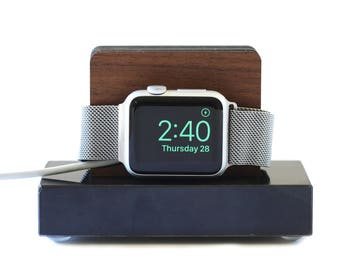 Apple Watch Stand in Black Marble and Walnut - Nightstand Mode - Gift for Him