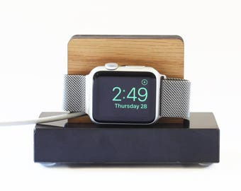Apple Watch Stand in Black Marble and White Oak - Nightstand Mode - Gift for Him