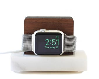 Apple Watch Stand White Marble and White Oak - Nightstand Mode - Gift for Him
