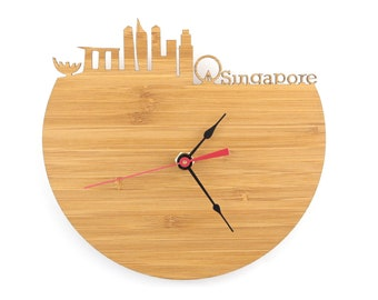 Singapore Wall Clock - Modern Skyline Clock - Singapore Skyline - Gift for Him