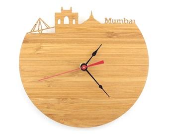 Mumbai Skyline Clock - Cherry and Walnut Modern Wall Clock