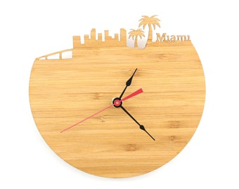 Miami Modern Clock - City Skyline Wall Clock - Florida