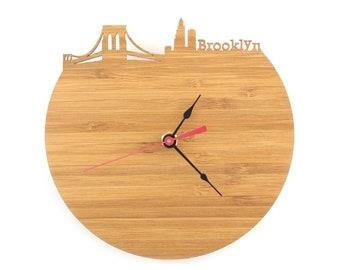 Brooklyn Skyline Clock - Cherry and Walnut Modern Wall Clock