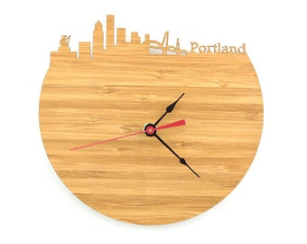 Portland Clock - Portlandia - Portland Modern City Skyline Wall Clock - Oregon