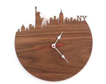 Walnut New York Wall Clock - Statue of Liberty, Empire State Building Clock