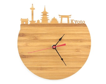 Kyoto Modern Clock - City Skyline Wall Clock - Japan