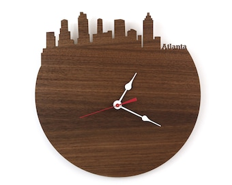 Walnut Atlanta Wall Clock - Atlanta Georgia Skyline