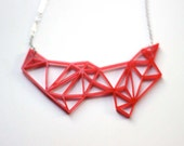 Red Geometric Necklace  SALE- Prism & Triangles Minimalist Necklace in Red