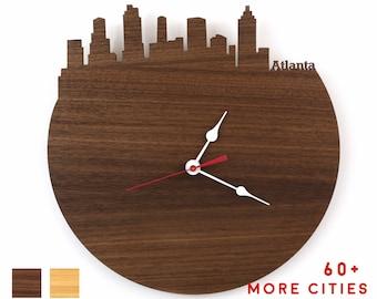 City Skyline Wood Clocks